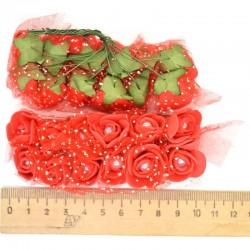 Цветы из фоамирана красные (12 шт) Х1