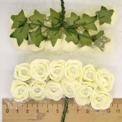 Цветы из фоамирана айвори (12 шт) Х3