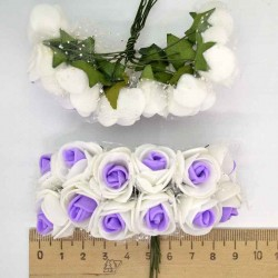 Цветы из фоамирана бело-фиолетовый (12 шт) Х5