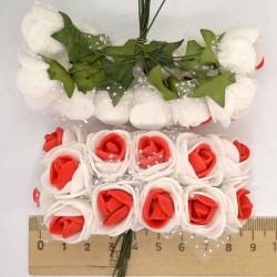 Цветы из фоамирана бело-красный (12 шт) Х6