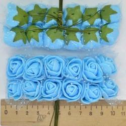 Цветы из фоамирана голубой (12 шт) Х9