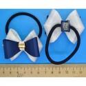 Резинка бантик сине-белый (2 шт) Р85