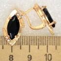 Серьги лодочка кристалл черный М313