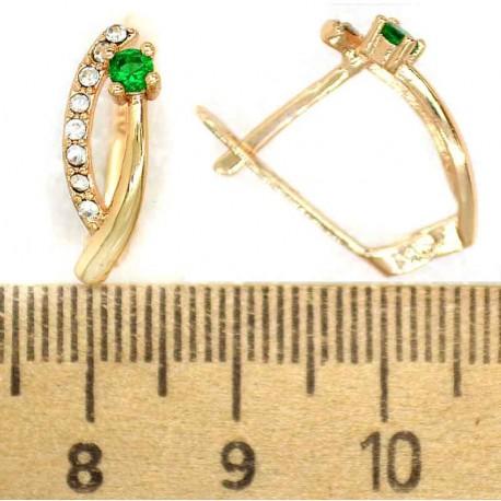 Серьги аис кристалл зеленый М314