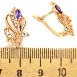 Серьги кустик кристалл фиолетовый М318