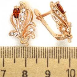 Серьги кустик кристалл красный М319