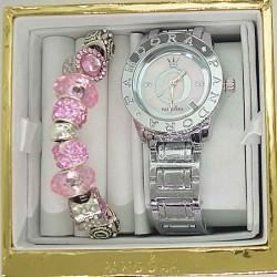 Часы с датой и браслетом розовым в упаковке М6