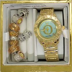 Часы с датой и браслетом золотистым в упаковке М8