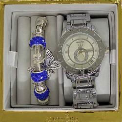 Часы с датой и браслетом синим в упаковке М9