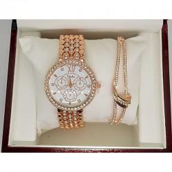 Часы с браслетом золотистые в упаковке М10
