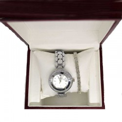 Часы с браслетом серебристые в упаковке М12