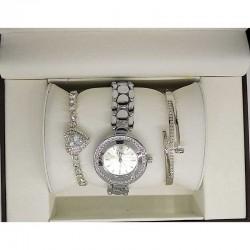 Часы два браслета серебристые в упаковке М13