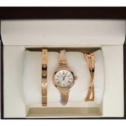 Часы два браслета золотистые в упаковке М14