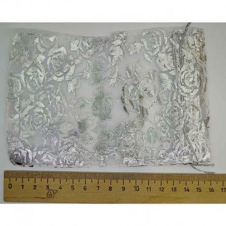 Мешок органза серебристый рисунок 8х6см (5 шт) М3