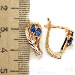 Серьги очаровашки циркон синий М155