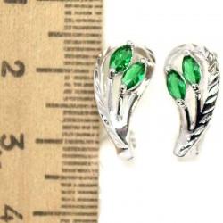 Серьги очаровашки циркон зеленый М156