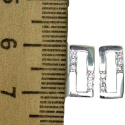 Серьги гвоздик мелкий циркон в серебре М20