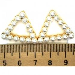 Серьги треугольник жемчужный в золоте М24