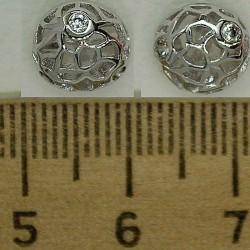 Серьги полушар с цирконом в серебре М25