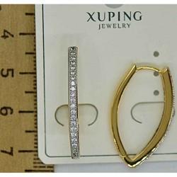 Серьги дуга золотистая с мелким цирконом М324