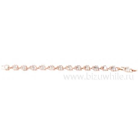 Браслет медицинский металл ромбики камень циркон белый цвет