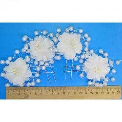 Шпилька цветок жемчуг тычинки (4 шт) М26