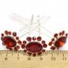 Шпилька цветок овал стразы красные (10 шт) М37