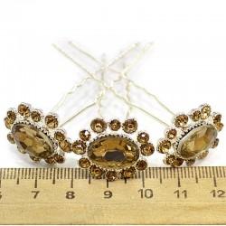 Шпилька цветок овал стразы золотистые (10 шт) М39