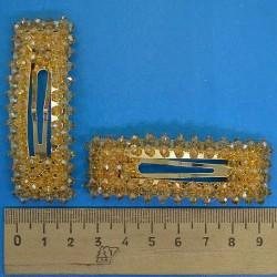 Зажим хрустальный золотистый (2 шт) М160
