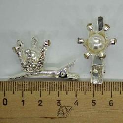 Уточка корона маленькая с жемчужиной (2 шт) в серебре М167