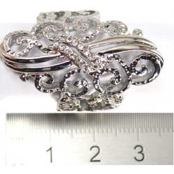 Кольцо под серебро длинное стразы белые