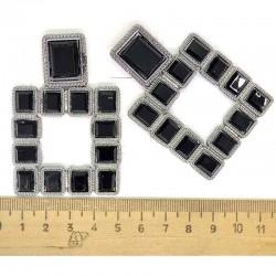 Серьги квадрат в серебре черный М82