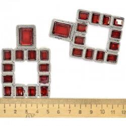 Серьги квадрат в серебре красный М83