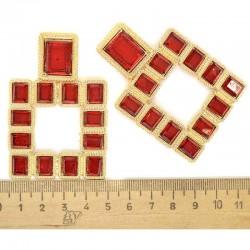 Серьги квадрат в золоте красный М85