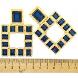 Серьги квадрат в золоте синий М86