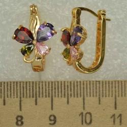 Серьги цветок циркон цветной 1 шт М406