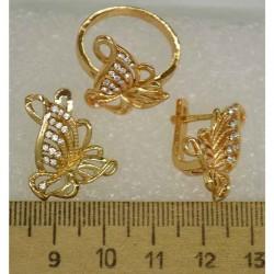 Набор кольцо и серьги бабочка 1 шт М407