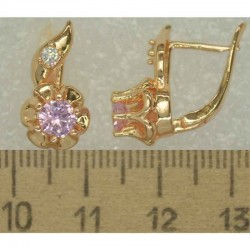 Серьги хвостик циркон розовый 3 шт М415