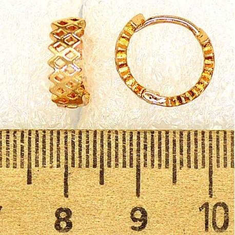 Серьги кольцо ромбики М422