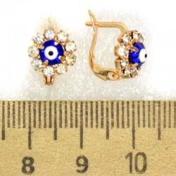 Серьги кольцо глазик синий М424