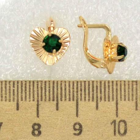 Серьги сердце зеленый М425