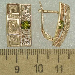 Серьги прямоугольник циркон зеленый М463