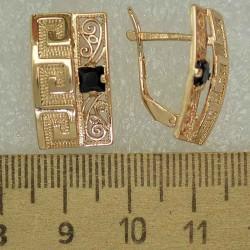 Серьги прямоугольник циркон черный М464