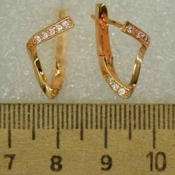 Серьги зигзаг с цирконом ( 3 пары) М475
