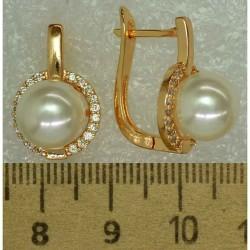 Серьги жемчуг мелкий циркон (3 пары) М490