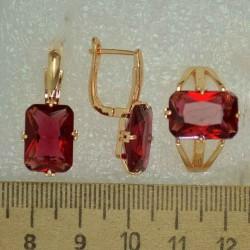 Серьги и кольцо прямо бордо (3 пары) М491