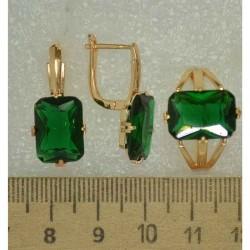 Серьги и кольцо прямо зеленый (3 пары) М492