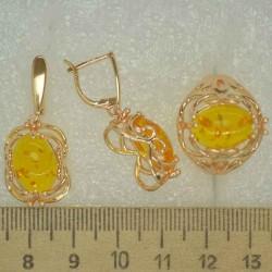 Серьги и кольцо ажур под янтарь (3 пары) М493
