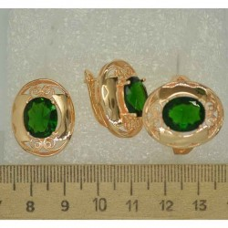 Серьги и кольцо овал крупный зеленый (3 пары) М494