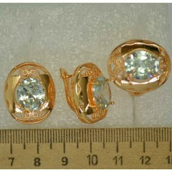 Серьги и кольцо овал крупный белый (3 пары) М495